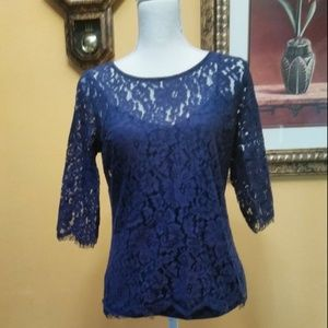 Willi Smith Womens Blue Crochet Embroidered Blouse